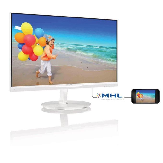 """Монитор 23"""" (58.42 cm) Philips 234E5QHAW, AH-IPS панел, FULL HD LED, 5ms 20 000 000:1 250cd/m2, 2x HDMI, колонки, бял image"""