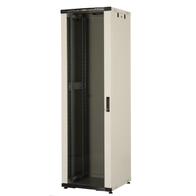 "Комуникационен шкаф Lande LN-CK42U6060-LG-121, 19"", 42U, 600 x 600 мм, стъклена врата, LCD термометър, сив image"