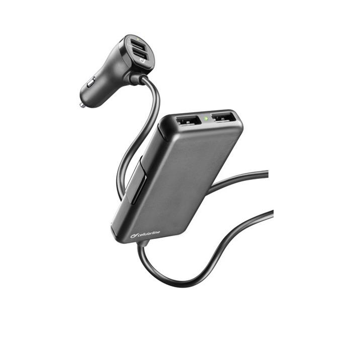 Зарядно устройство за кола Cellular Line 12V с разклонител 4 USB 7.2A, за iPhone/iPad/таблети/смартфони, черно image