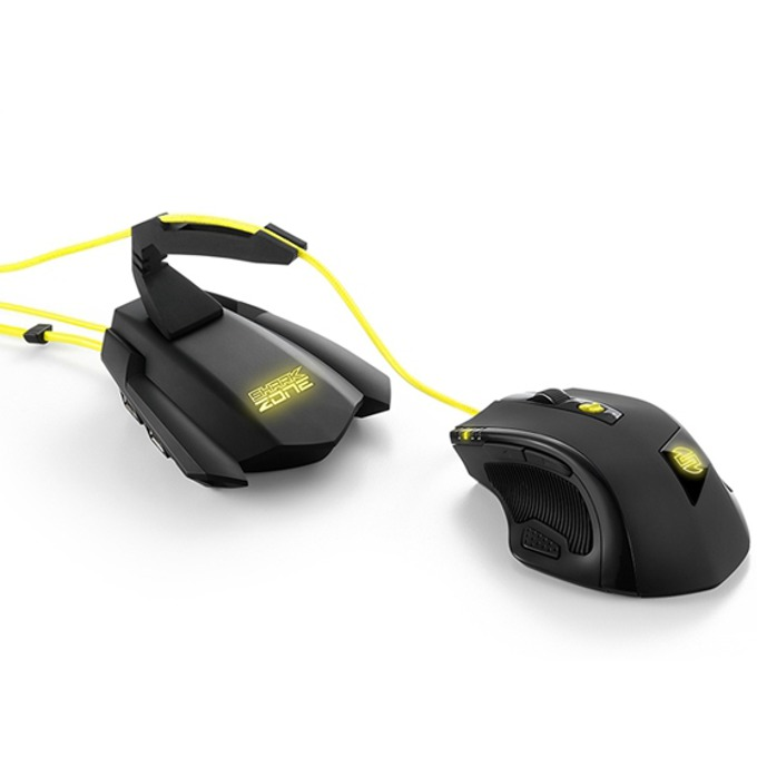 Мишка комплект Sharkoon Shark Zone M51+ (Mouse SHARK ZONE M51 + Stand SHARK ZONE MB10 GAMING BUNGEE HUB), гейминг, оптична (8200 dpi), програмируеми бутони, USB, подсветка, черна image