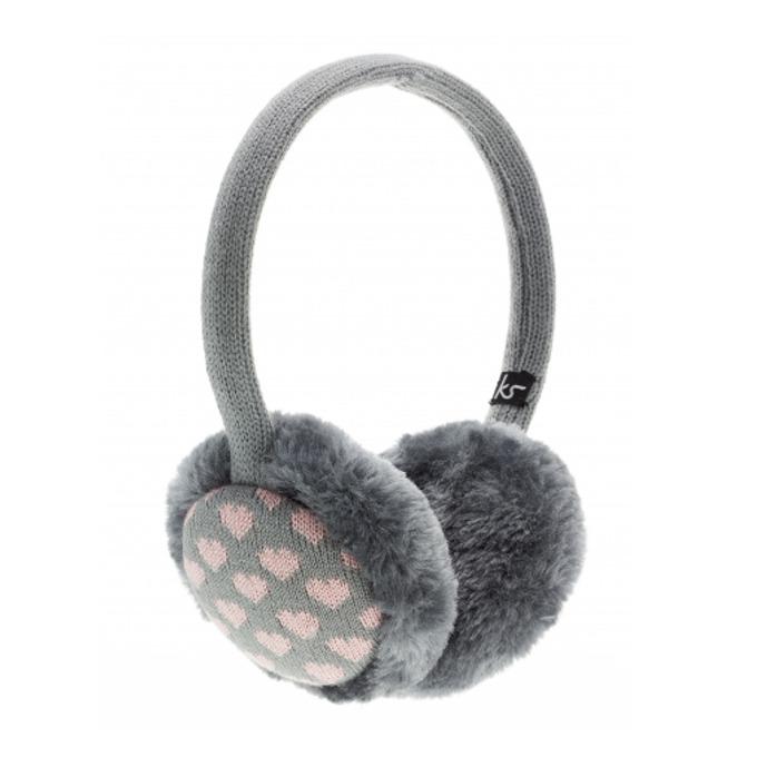 Слушалки KitSound Earmuffs Heart, сиво-розови, с ушанки image
