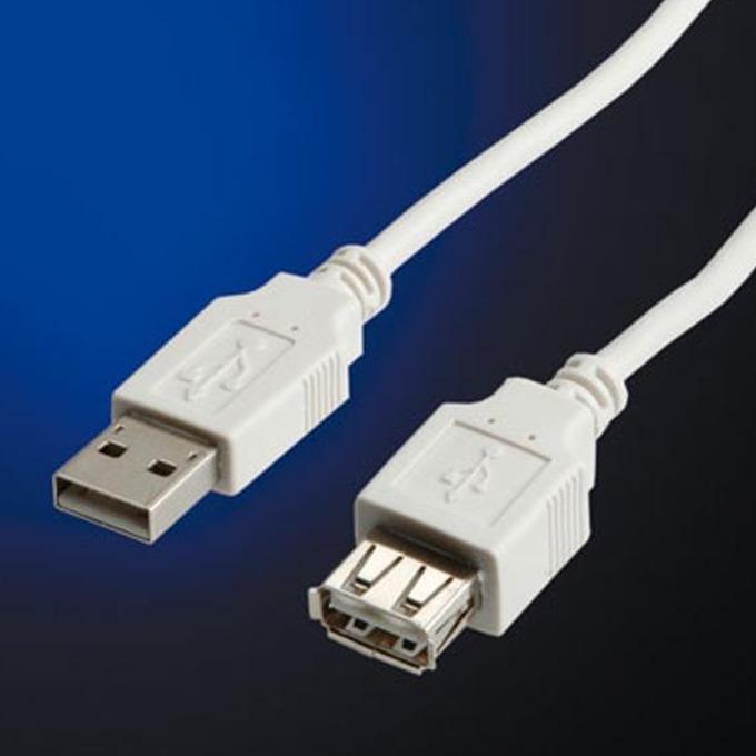 Кабел Roline 11.99.8949, USB A(м) към USB А(ж), 1.8m, бял image