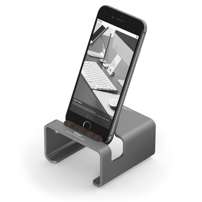 Стойка за бюро Elago M3 Stand - поставка от алуминий и дърво за iPhone 6/6+/5/5S/5C, iPad mini 2/3, тъмносива image