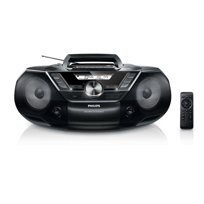 CD радиокасетофон, Philips AZ787, MP3-CD, USB, FM Tape Remote Control 12W image