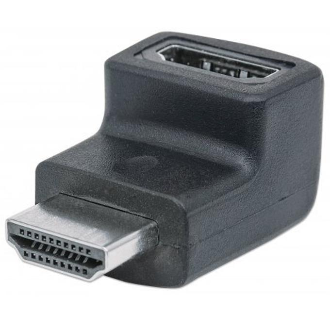 Преходник MANHATTAN 353502, HDMI А(ж) към HDMI А(м), поддържа 4K резолюции, извит на 90°, черен image