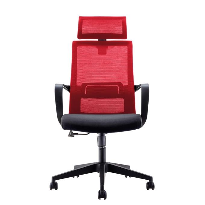 Директорски стол RFG Smart HB, дамаска и меш, черна седалка, червена облегалка image