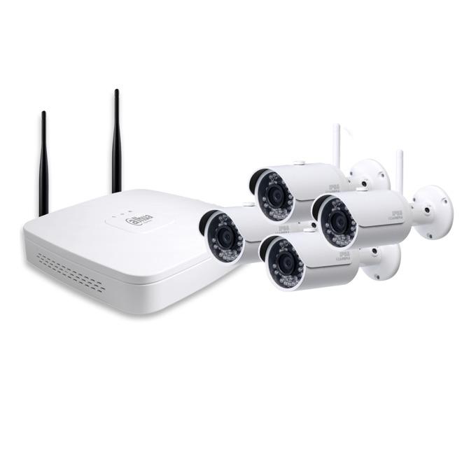 "Комплект 4x IP камери и рекордер Dahua DH-KIT/NVR4104-W/4-HFW1000SP-W-0360B, насочена ""bullet"", 1 Mpix(1280×720@30FPS), 3.6mm обектив, H.264B/H.264/MJPEG, IR осветеност (до 30 метра), IP66, Wi-Fi, 1x 10/100Base-T Ethernet port image"