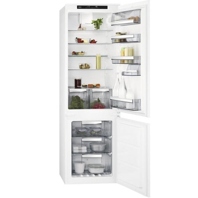 Хладилник с фризер AEG SCE 81826TS, клас А++, 253 л. общ обем, за вграждане, 228 kWh/годишно, бял image