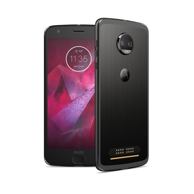 "Motorola Z2 Force (черен), поддържа 2 Sim карти, 5.5""(13.97 cm) P-OLED дисплей, осемядрен Qualcomm MSM8998 Snapdragon 835 (4x2.35 GHz Kryo & 4x1.9 GHz Kryo), 4GB RAM, 64GB Flash памет (+microSD слот), 12 & 12 Mpix camera, Android 7.1.1, 143g image"
