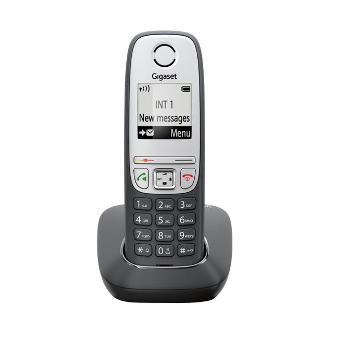 Безжичен телефон Gigaset A415, течнокристален черно-бял дисплей, черен image