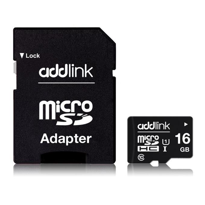 Карта памет 16GB microSDHC с адаптер, Addlink Premium, Class 10 UHS-I, скорост на четене 85 MB/s, скорост на запис от 10 MB/s image