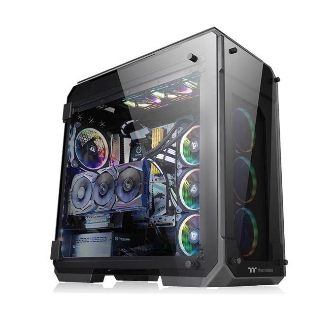 Кутия Thermaltake View 71 Tempered Glass RGB Edition, E/ATX/mATX/miniITX, 2x USB 3.0, с 4x прозореца от темперирано стъкло, черна, без захранване, 140мм Riing Plus RGB вентилатори image