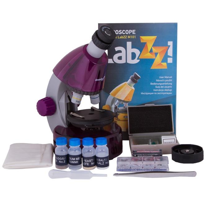 Микроскоп Levenhuk LabZZ M101 Amethyst, увеличение до 640x, набор за експерименти image