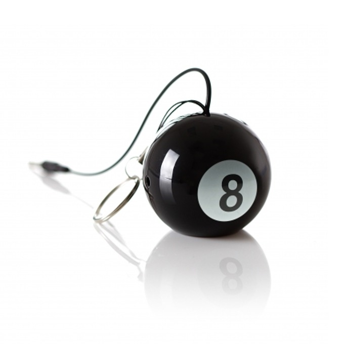 Тонколона KitSound Mini Buddy 8 ball, 1.0, 2W, USB, черна, вградена Li-Ion батерия image