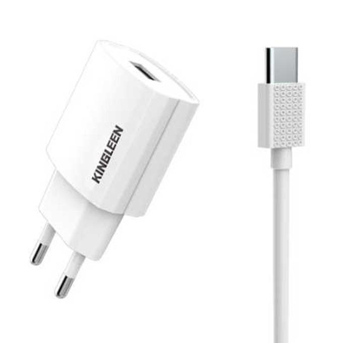Зарядно устройство Kingleen C850E, от контакт към 1x USB Type A(ж), с кабел USB Type C, 5V/2.1A, бяло image