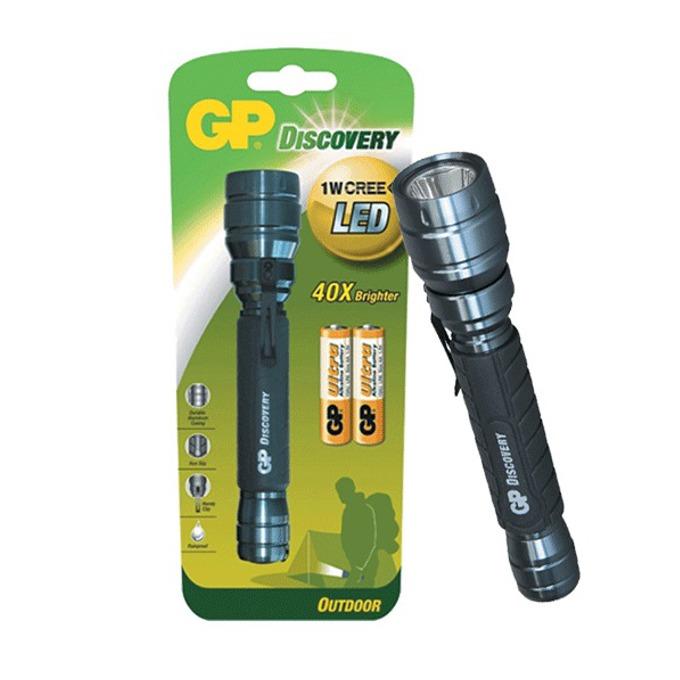Фенер GP LOE102, 2x АА батерии, 80 lumens, удароустойчив, водонепропускваем, ръченм, черен  image
