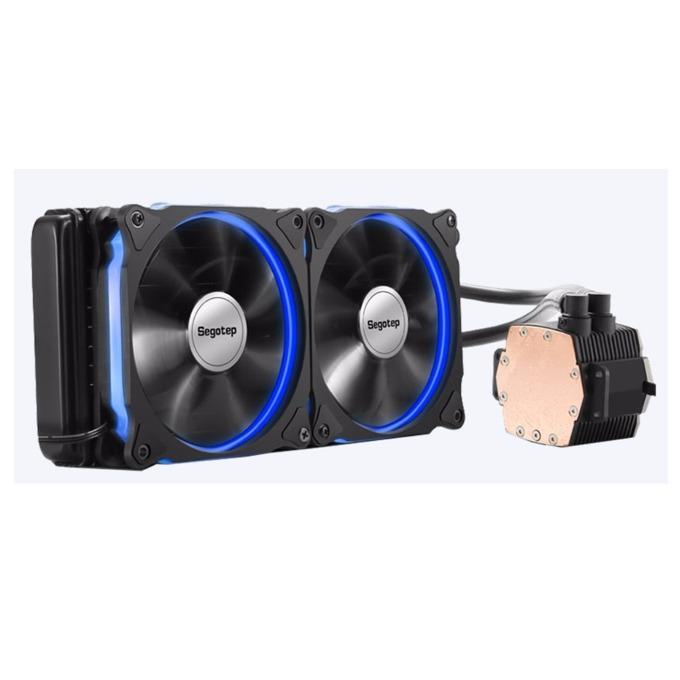 Водно охлаждане Segotep Halo 240, съвместимост с Intel 2011/3/1366/1150/1151/1155/1156, AMD AM4/AM3+/AM3/АМ2/AM2+/FM2/FM2+/FM1, синя LED подсветка, черен image