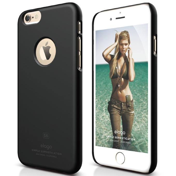 Поликарбонатов протектор Elago S6 Slim Fit за iPhone 6, черен, HD покритие  image