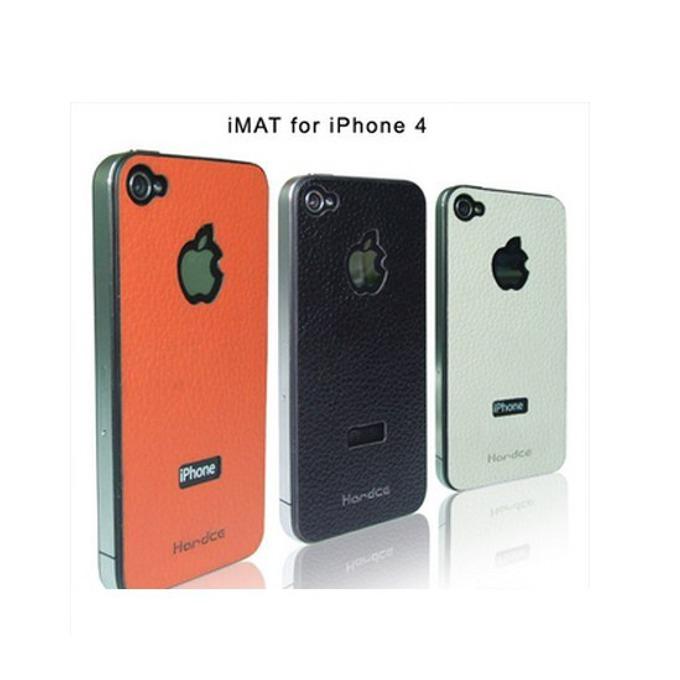 Страничен протектор HardCE iMAT, бежов, кожен (естествена кожа), за iPhone 4 + скрийн протектор и кърпичка за почистване image
