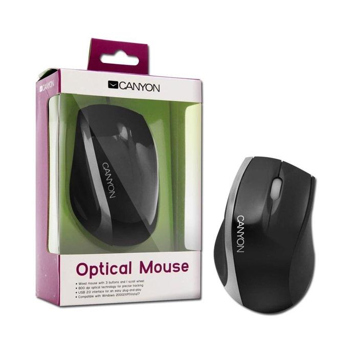 Мишка Canyon CNR-MSO01NS, оптична (800dpi), черна/сребриста, USB image