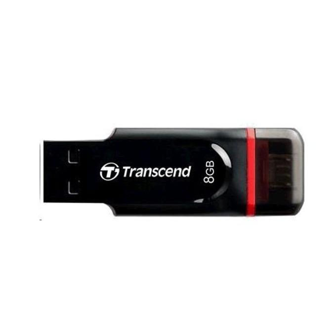 8GB USB Flash Drive, Transcend JetFlash 340, USB 2.0/micro USB 2.0, черна image