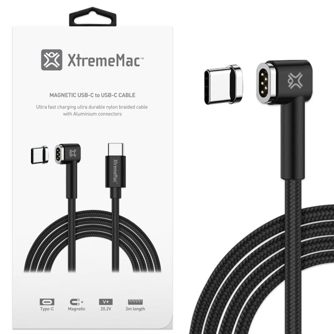 Кабел XtremeMac Magnetic USB C(м) към USB C(м), 2m, черен image