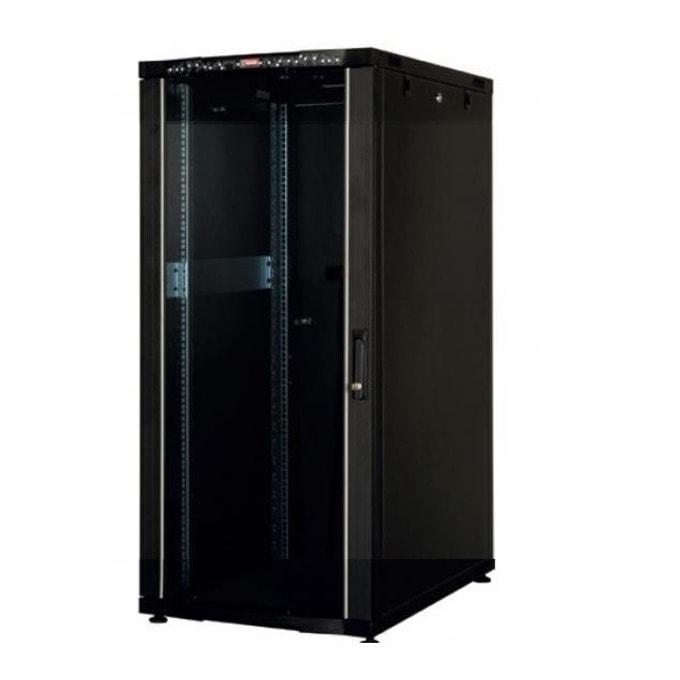 """Комуникационен шкаф Lande LN-CK22U6060-BL-121, 19"""", 22U, 600 x 600 мм, стъклена врата, LCD термометър, черен image"""