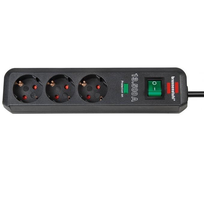 Разклонител Brennenstuhl Eco-line, 3 гнезда, предпазва скъпите устройства от претоварване, 1,5m, черен image