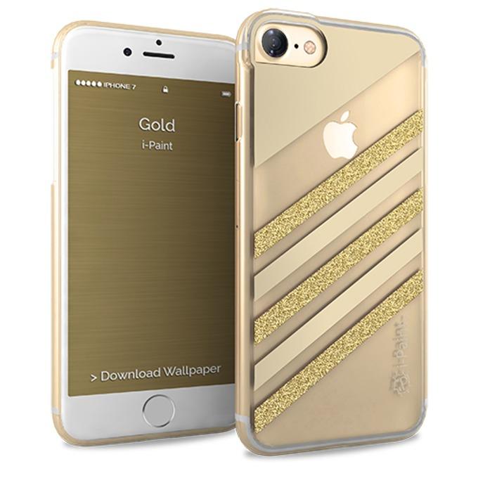 Калъф за Apple iPhone 8, термополиуретанов, iPaint Glamour Gold 161003, златист image