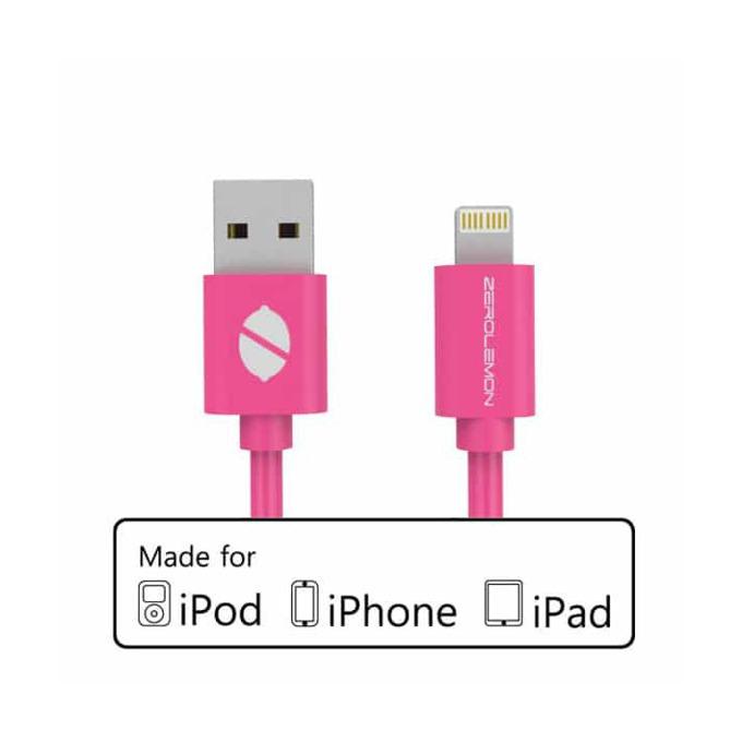 Кабел ZeroLemon USB A(м) към USB Lightning, 2m, розов image