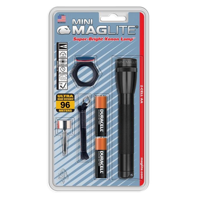 Фенер Mini MAGLITE, 2x батерии АА, 14lm, водоустойчивост, блистер, черен image
