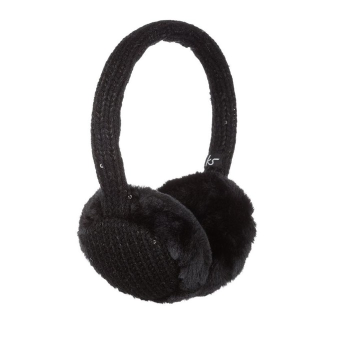 Слушалки KitSound Sequin Fur Earmuffs, черни, с ушанки image