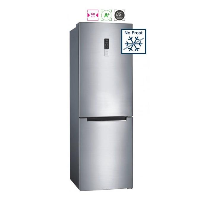 Хладилник с фризер Finlux FNC-310 IX, клас A+, 317 л. общ обем, свободностоящ, 292 kWh/годишно, No Frost, електронно управление с дисплей, LED осветление, инокс image
