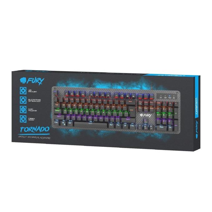 Клавиатура Fury TORNADO, геймърска, подсветка Многоцветна, Черен, USB image
