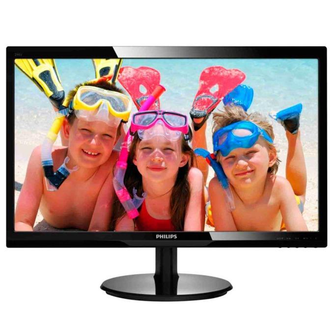 """Монитор 24"""" (60.96 cm) Philips 246V5LSB, TFT-LCD панел, Full HD, 5 ms, 10 000 000:1, 250 cd/m2, DVI image"""