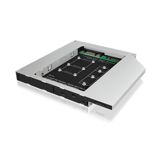 Адаптер RaidSonic ICY BOX IB-AC650, за mSATA(до 30/50/70x30) и M.2 SSD(до 2280) дискове чрез 12.5мм DVD драйв, 6 Gbit/s image
