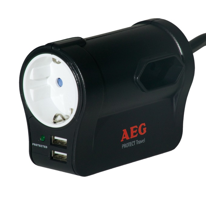 Разклонител AEG 6000007747, 3 гнезда, 1x safety socket, 2x EU sockets  image