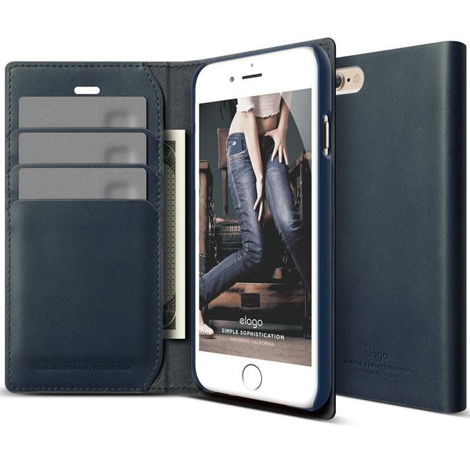 Калъф за iPhone 6, Flip Wallet, кожен от естествена кожа, Elago S6 Leather Wallet Case, тъмносин, HD покритие image