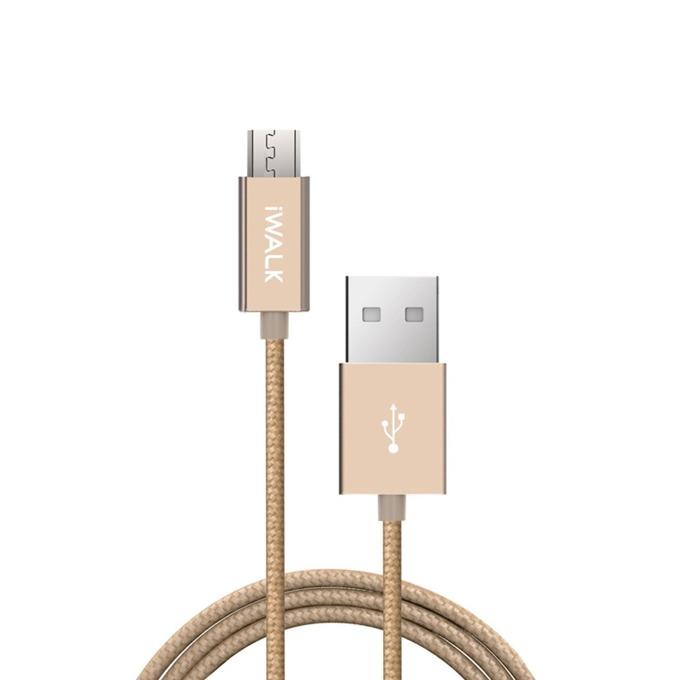 Кабел iWalk, USB A(м) към Micro USB(м), 2m, златист image