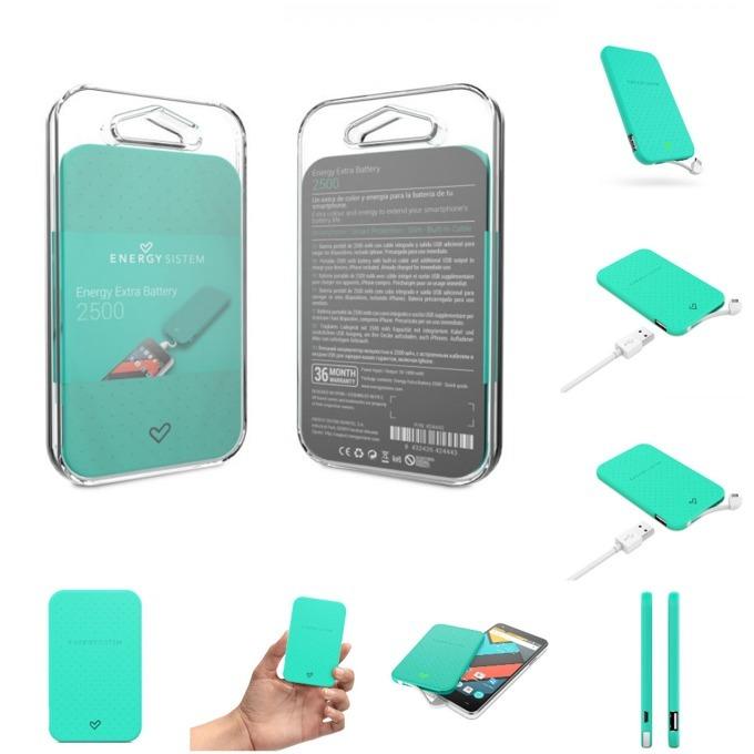 Външна батерия/power bank/ Energy Sistem Portable Battery Mint, 2500 mAh, мента, LED индикатор за зареждане image