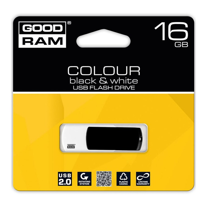 16GB USB Flash Drive, Goodram Colour Black&Ram, черна/бяла image