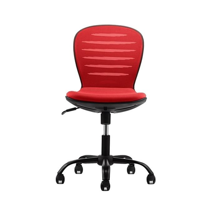 Детски стол RFG Flexy Black, дамаска и меш, червена седалка, червена облегалка image