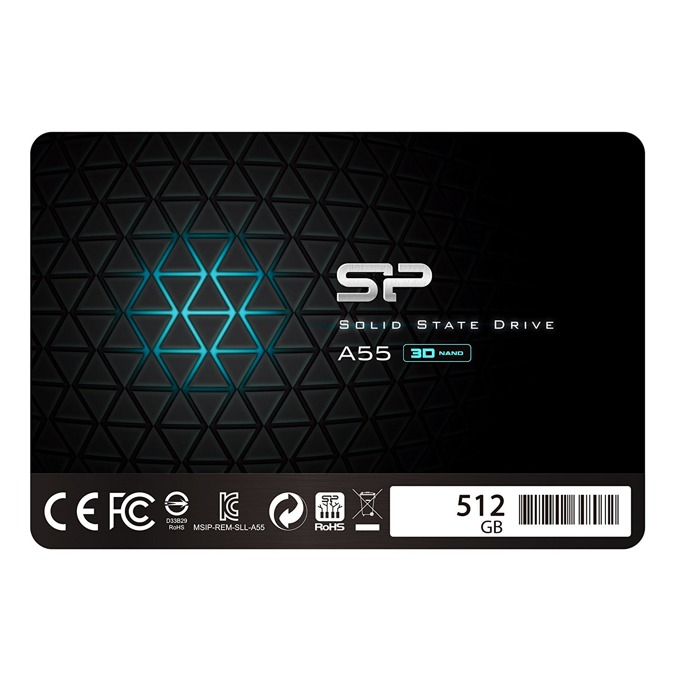 "SSD 512GB Silicon Power Ace A55, SATA 6Gb/s, 2.5""(6.35 cm), скорост на четене 560MB/s, скорост на запис 530MB/s, черно image"
