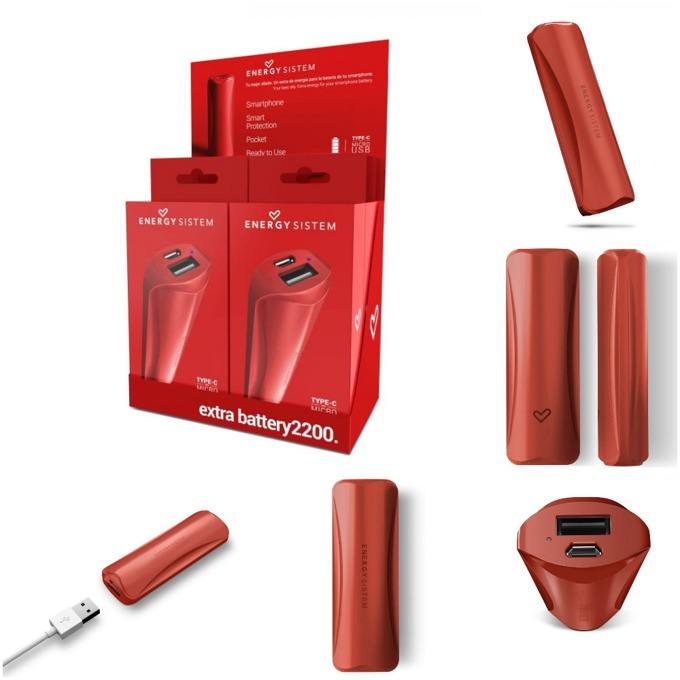 Външна батерия/power bank/ Energy Sistem Extra Battery Red, 2200 mAh, червена, LED индикатор за зареждане image