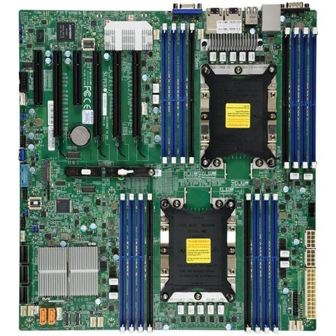 Дънна платка за сървър Supermicro MBD-X11DPI-N-O, 2x LGA-3647 (Socket P), DDR4 2133/2400/2666/2933 ECC RDIMM/LRDIMM/3DS LRDIMM, 2 (X722)xGLAN, 14xSATA 6G, M.2 slot, RAID 0/1/5/10, 4x USB 2.0, 5x USB 3.0, E-ATX image