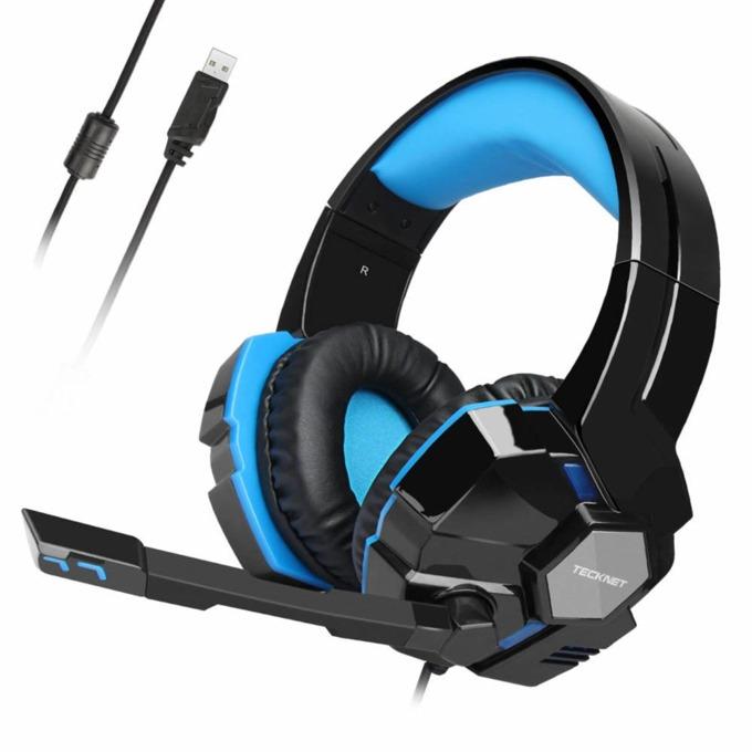 Слушалки TeckNet GH10928, микрофон, геймърски, 7.1 канален съраунд звук , USB, черни/сини image