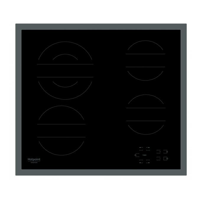 Вграден керамичен плот Hotpoint-Ariston HR 642 X CM, 4 нагревателни зони, сензорно управление, защита за деца, черен image