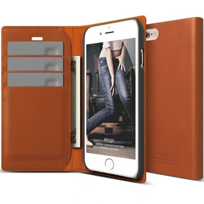Flip Wallet Elago S6P Leather Wallet Case за iPhone 6 Plus, кафяв, естествена кожа, HD покритие image