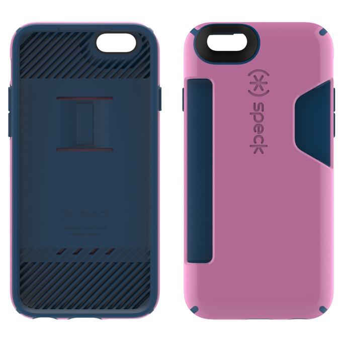Страничен протектор с гръб Speck за iPhone 6S, с отделение за карти, синьо и розово image