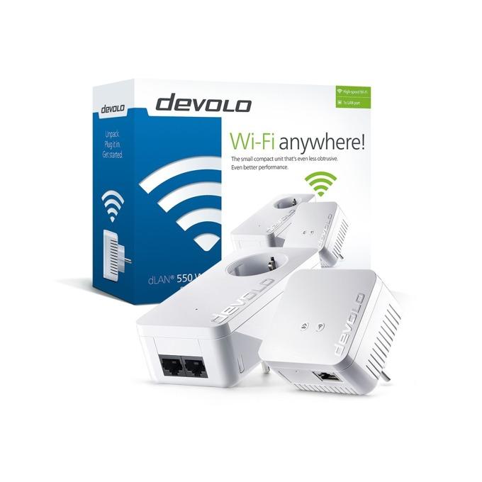 Powerline адаптери Devolo dLAN 550 WiFi Bundle, 500Mbps, до 400м обхват, 1x 10/100/1000 Ethernet порт, 2 антени, 2 устройства image